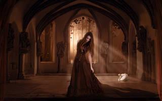 Papel de parede do vintage com uma menina vampiro encantador em um vestido longo.