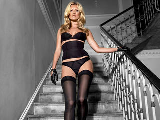 Widescreen picture perfect Kate Moss in black stockings