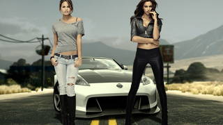 Two chicks and a supercar